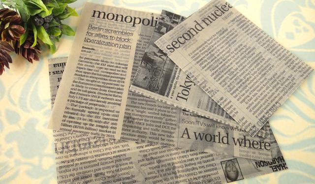 英字新聞のワックスペーパーバッグ