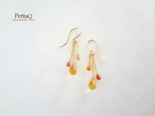 【14KGF】シトリン・イエロー、オレンジサファイアのピアス