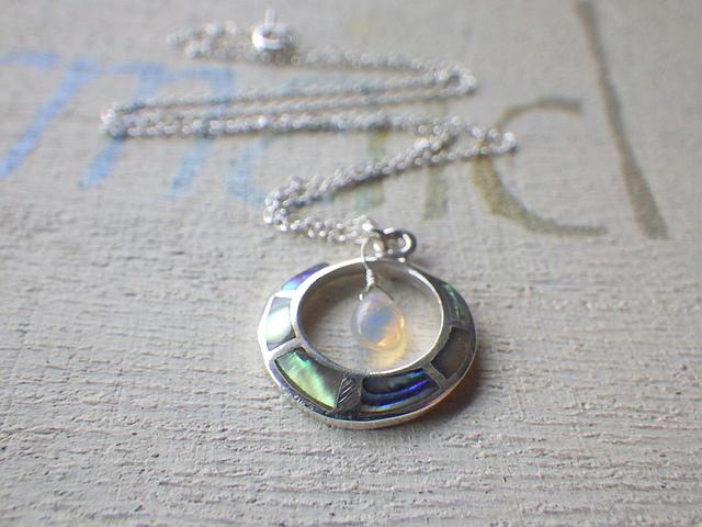 Paua Shell & Opal necklace ll  sv925