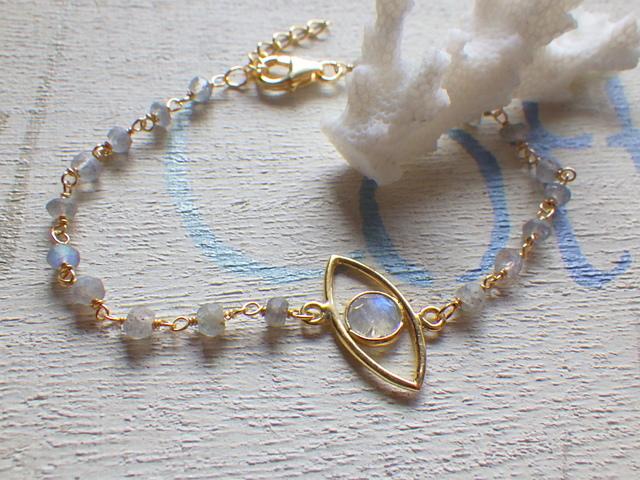 Evel Eye Bracelet--ムーンストーン&ラブラドライト ヴェルメイユ