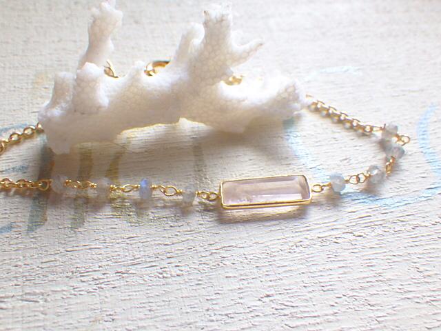 Rectangle Bracelet--ローズクウォーツ&ラブラドライト(ヴェルメイユ)