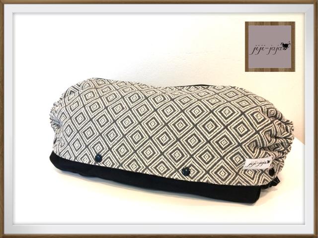再販【Lsize:裏地デニム】上品なグレーの織り_抱っこ紐収納ケース 大きめもok!エルゴ等収納