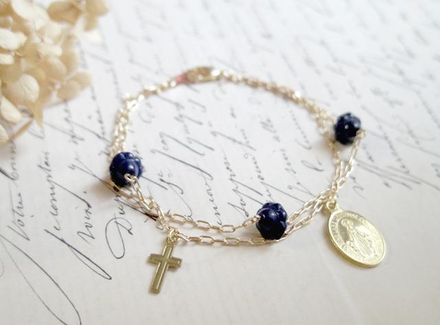 フランスアンティークビーズ(紺)のロザリオ風ブレス