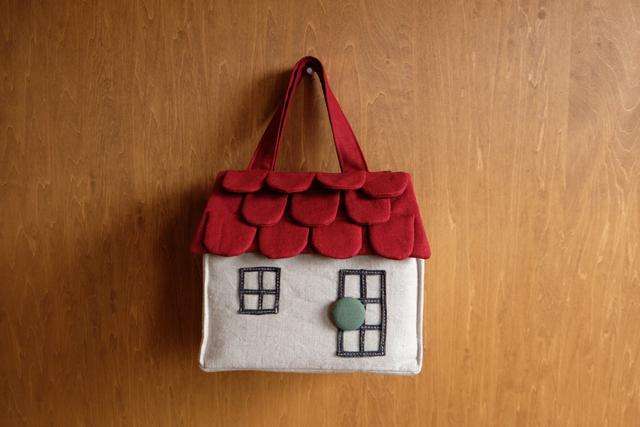 OUCHI box bag S ダークレッド屋根