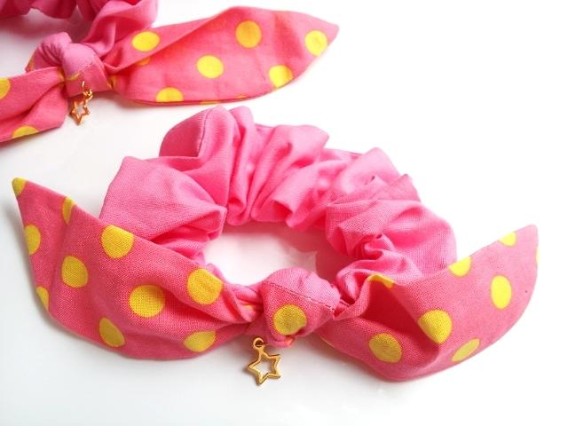 ピンク×ドット リボンシュシュ