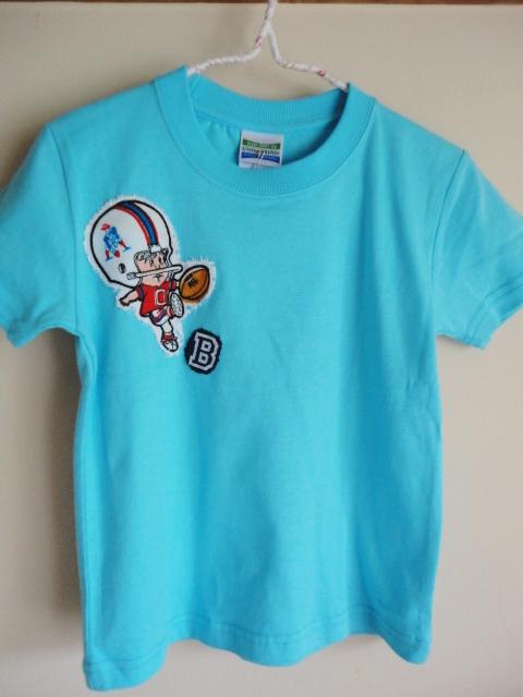 新品 Tシャツリメイク アメフト柄 ブルー 110サイズ