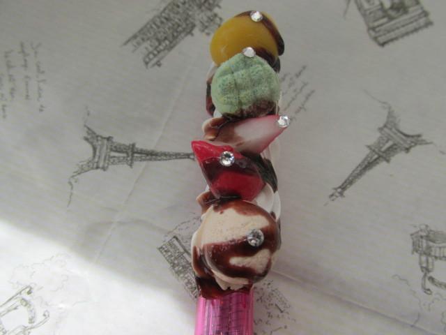 三色ボールペン ホイップデコ スイーツデコ ピンク
