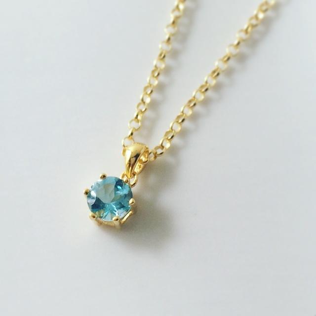 【限定2点】silver925/18K仕上げ天然石ネックレス☆スイスブルートパーズ