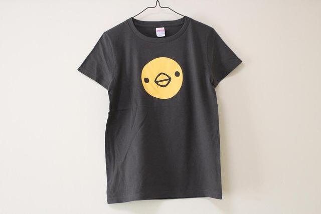 ひよこさん3匹Tシャツ スミ(girls-L)