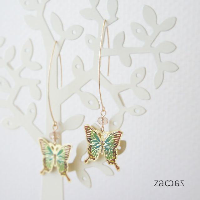 【販売終了】ひらり蝶のロングフックピアス