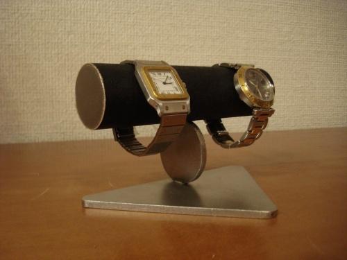 ブラック2本掛け丸支柱腕時計スタンド