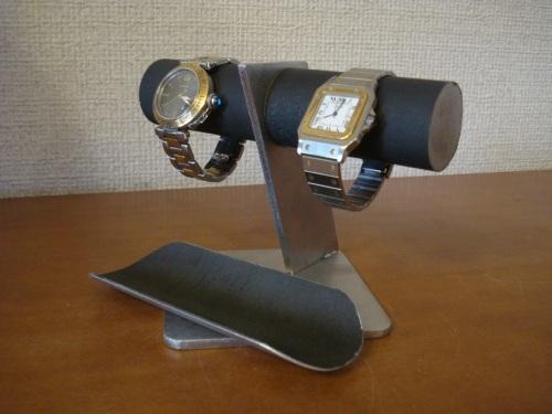 2本掛けブラックトレイ付きななめ支柱腕時計スタンド