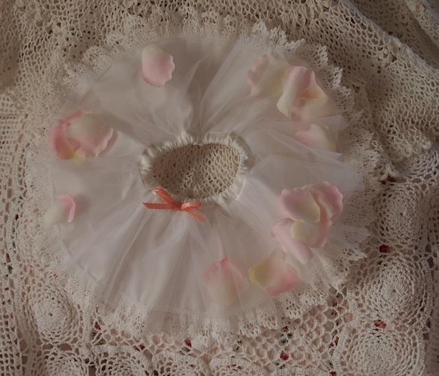43?ぬいぐるみ用お洋服★お花のスカート(ロマンティックローズ/ピンク)