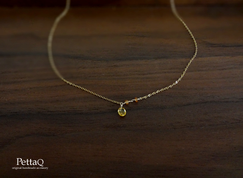 【14KGF】イエローサファイアと小さなふたつぶネックレス