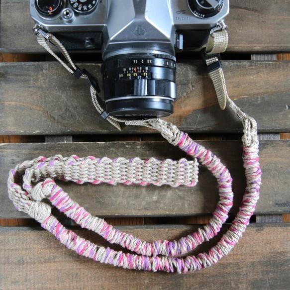 MIX麻紐ヘンプカメラストラップpink(ベルト)