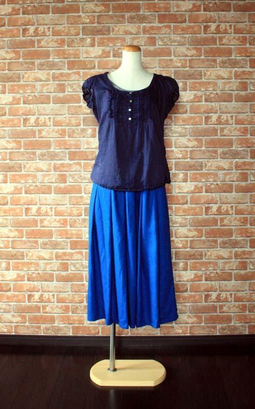 ヨーロッパリネン タックギャザースカート ブルー 着丈約77cm