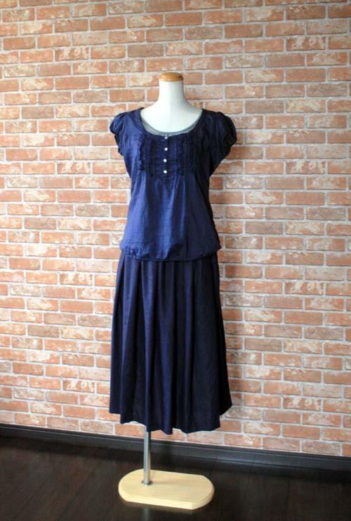 ヨーロッパリネン タックギャザースカート ネイビー 着丈76cm