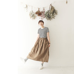 {Pocket color long skirt}ブラウン×ネイビー