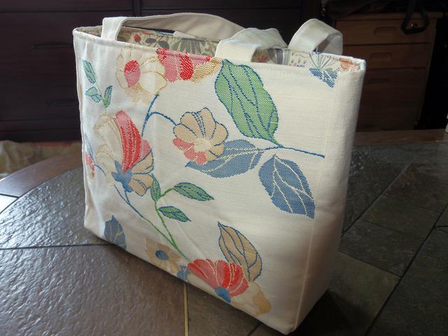 花柄名古屋帯のトートバッグ