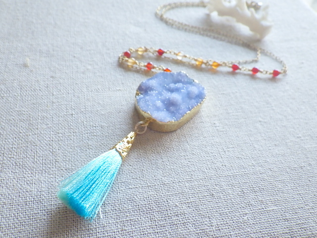Druzy Ocean Necklace--forget me not