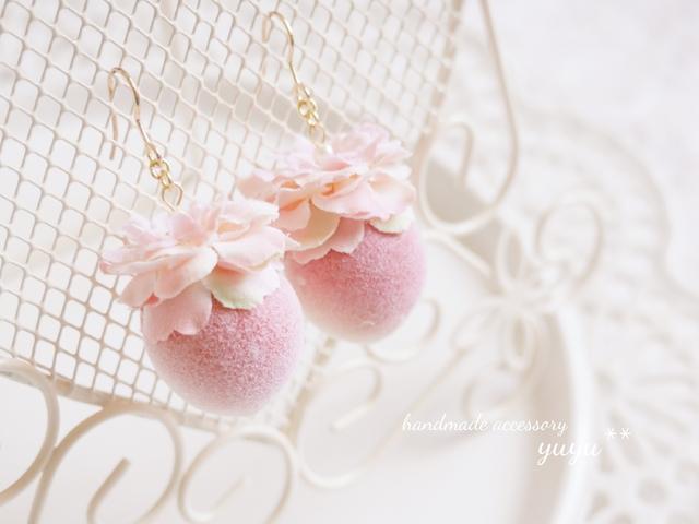 sweet peach flower イヤリング/ピアス ( ピンク )