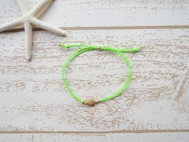 Shell ワックスコード ブレスレット Neon Green