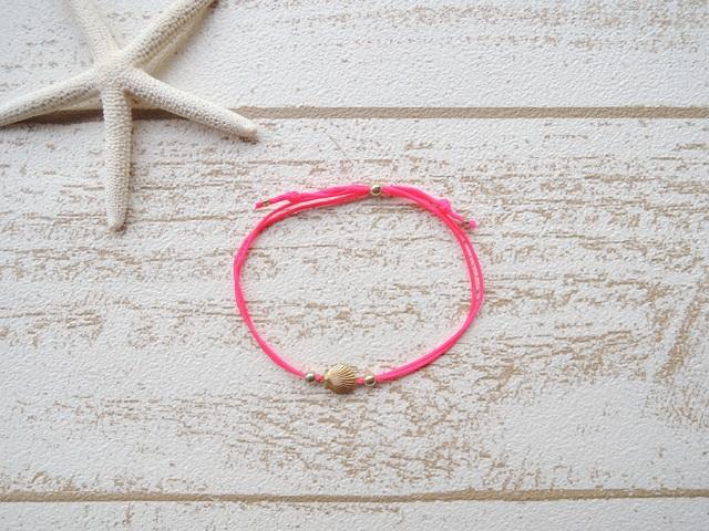 Shell ワックスコード ブレスレット Neon Pink