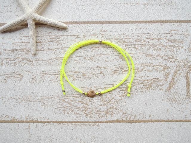 Shell ワックスコード アンクレット Neon Yellow