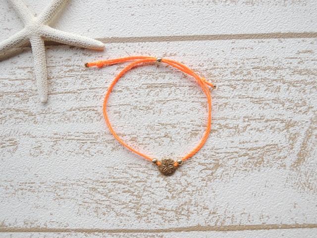 Sand dollar ワックスコード ブレスレット  Neon Orange