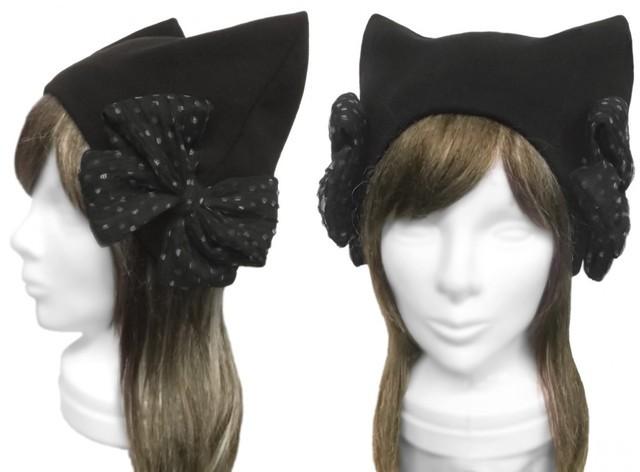 ドット柄シフォンリボン飾/ネコ耳帽子(ゆったり)◆コットンニット/黒