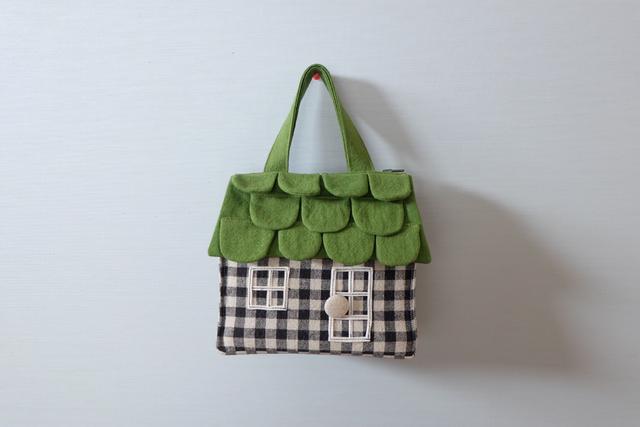 OUCHI box bag S 黒白チェック