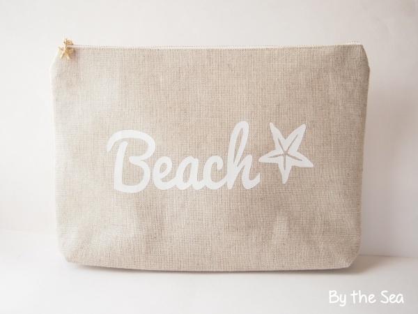 リネン Beach クラッチバッグ ビッグポーチ