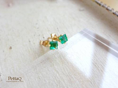 1点もの【14KGF】宝石質エメラルドのスタッドピアス