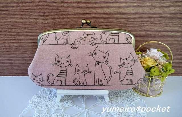 るぅるるる様オーダー品*あったかネコさんの親子がま口長財布(ピンク)
