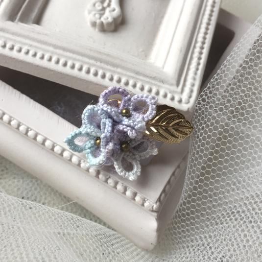ブルーのマジカル紫陽花リング