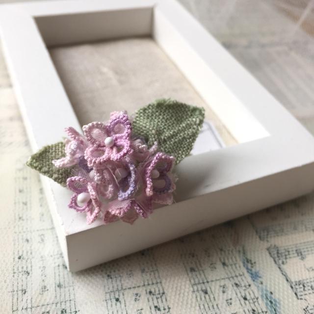糸花標本ブローチ*紫陽花マジカルピンク