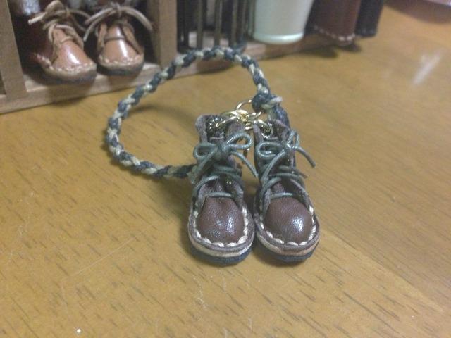 ハンドメイド◎ミニチュア 編み上げブーツ 四つ編み ストラップ 革 レザー ブラウン 6