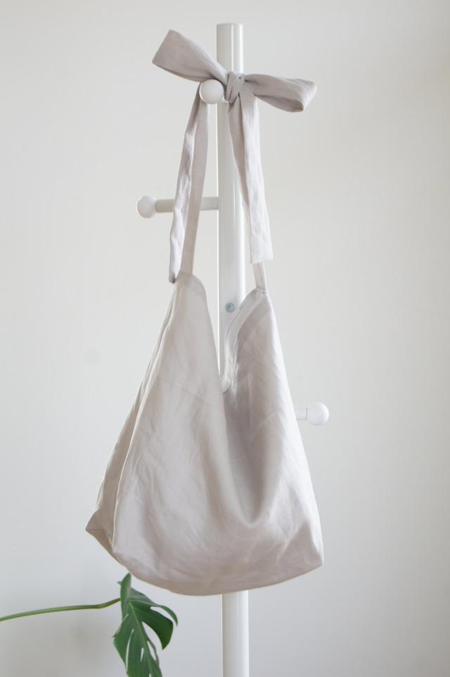 リネンリボンのバッグ(ライトグレー)