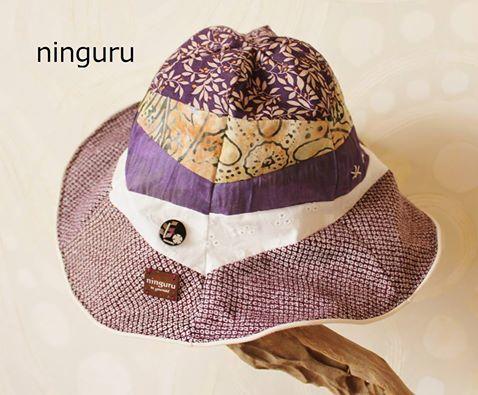 落ち着いた紫グラデーションのチューリップハット