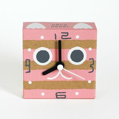 ダンボールの時計|はこどけい|トラ猫の顔(ピンク)