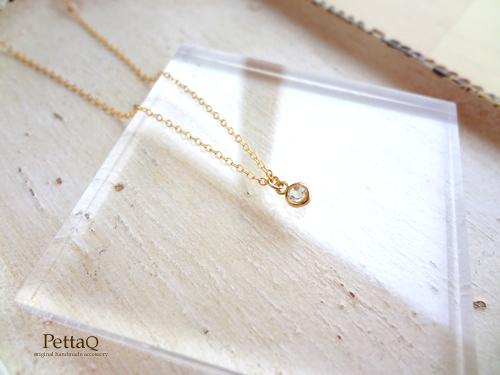 【14KGF】宝石質ホワイトトパーズのプチネックレス