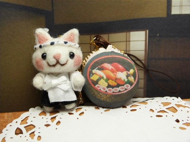 「へいお待ち!」猫寿司職人とマカロンコインケース