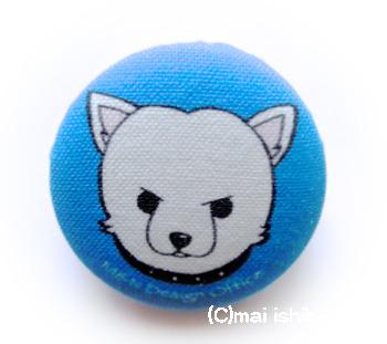 柴犬(白柴)の布バッジ(ブルー)