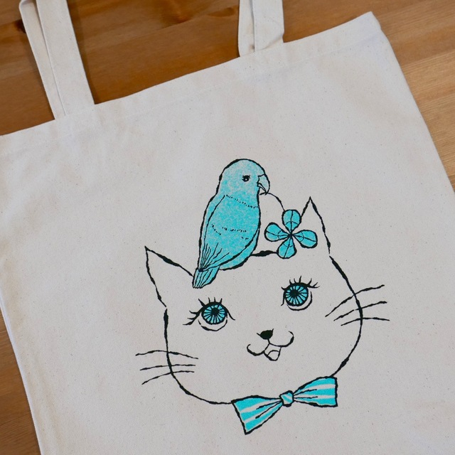 tote bag -cat & pacific parrotlet