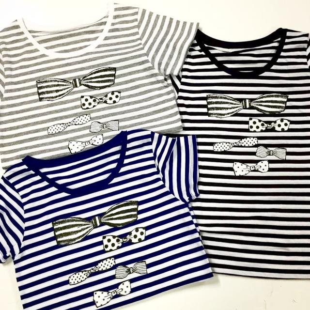 Striped T-shirts - ribbons -blue