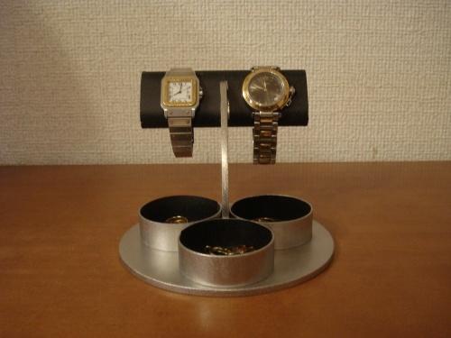 ブラックだ円パイプ2本掛け三つの丸い小物入れ付き腕時計スタンド