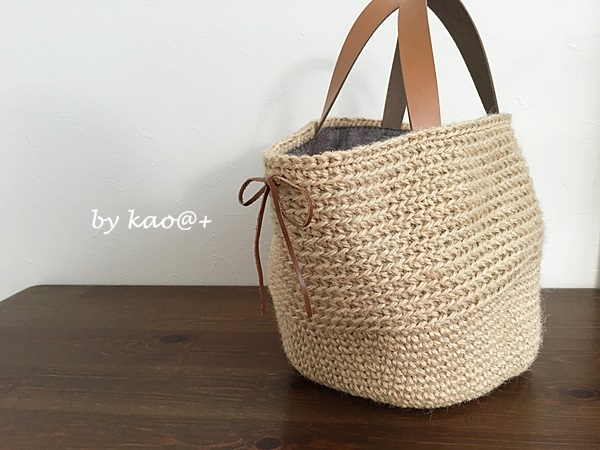 natural color 麻ひもマルシェバッグ(brown・M size)