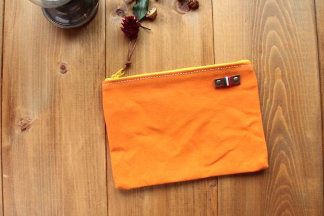 H927 帆布シンプルポーチ Mサイズ -オレンジ-