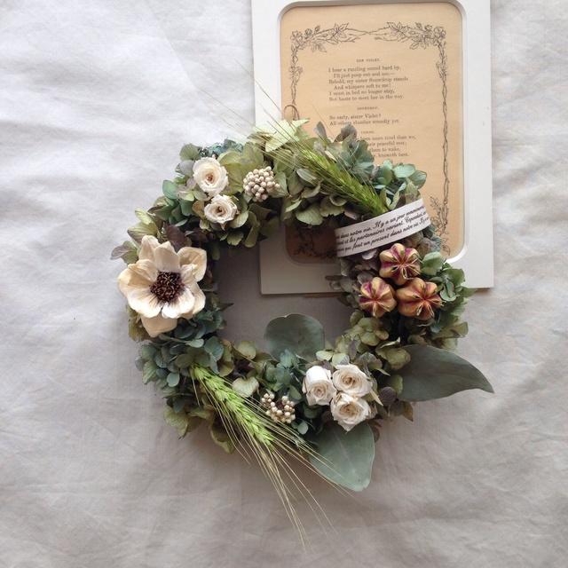 パインフラワーと小麦の wreath