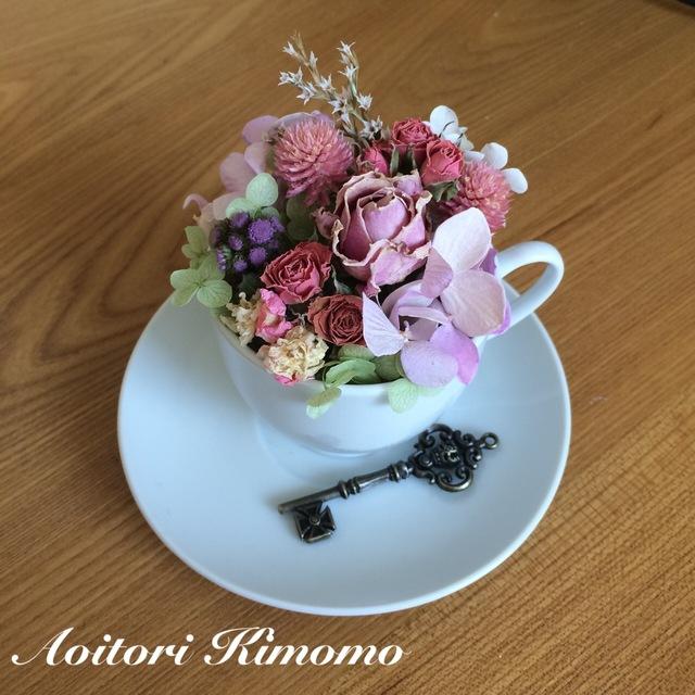 《送料無料》コーヒーカップにピンクローズ(2)